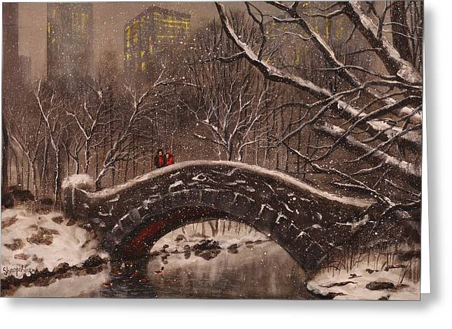 Bridge In Central Park Greeting Card by Tom Shropshire