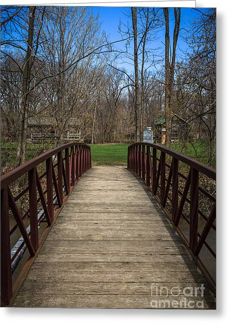 Deep River Greeting Cards - Bridge in Deep River County Park Northwest Indiana Greeting Card by Paul Velgos