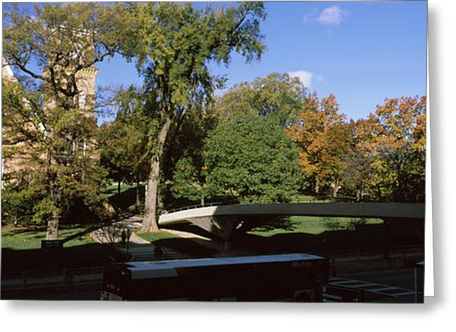 University Of Wisconsin Greeting Cards - Bridge In Front Of A University, Music Greeting Card by Panoramic Images