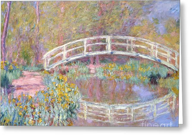 Calm Paintings Greeting Cards - Bridge in Monets Garden Greeting Card by Claude Monet