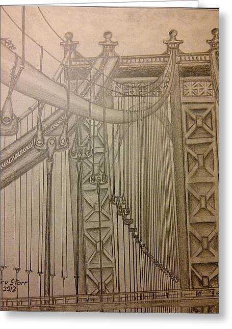 Suspension Drawings Greeting Cards - Bridge in New York Greeting Card by Irving Starr