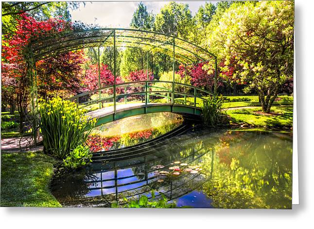 Dogwood Lake Greeting Cards - Bridge in the Garden Greeting Card by Debra and Dave Vanderlaan