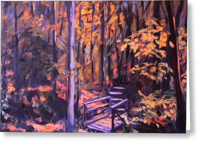 Bridge In Woods Near Pandapas Greeting Card by Kendall Kessler