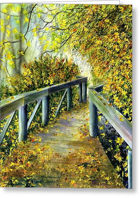 Autumn Landscape Paintings Greeting Cards - Bridge Greeting Card by Karen Wright