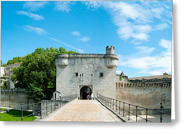 Fortified Wall Greeting Cards - Bridge Leading To The City Gate, Pont Greeting Card by Panoramic Images