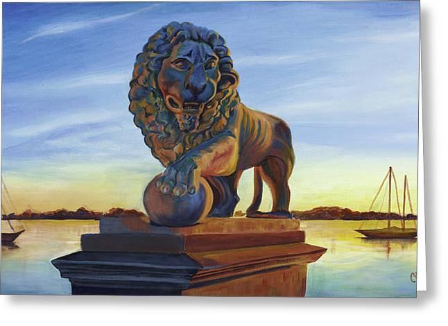 Florida Bridge Paintings Greeting Cards - Bridge Lion Greeting Card by Caroline Conkin
