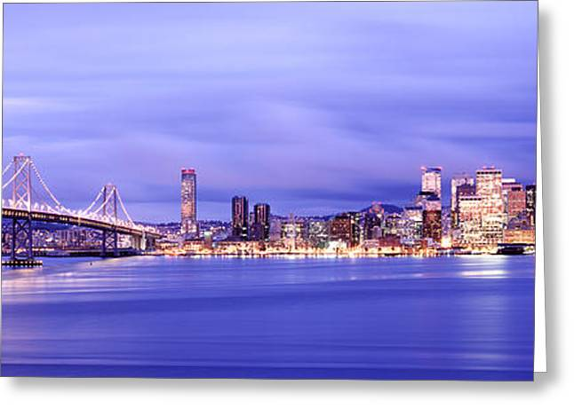 San Francisco Bay Greeting Cards - Bridge Lit Up At Dusk, Bay Bridge, San Greeting Card by Panoramic Images