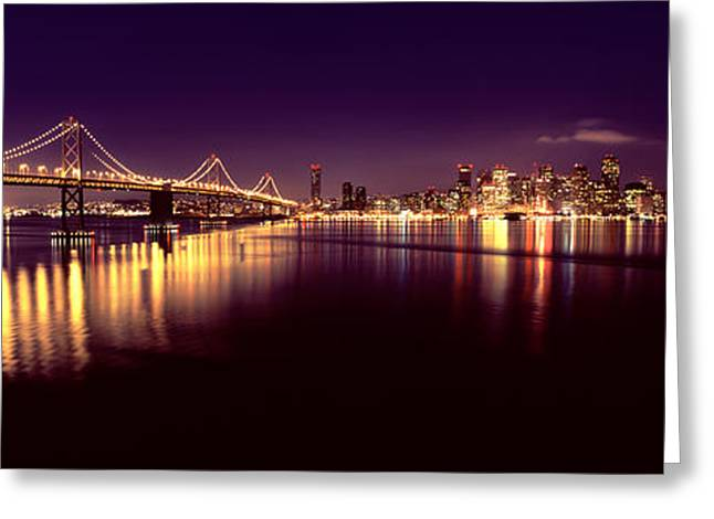 San Francisco Bay Greeting Cards - Bridge Lit Up At Night, Bay Bridge, San Greeting Card by Panoramic Images