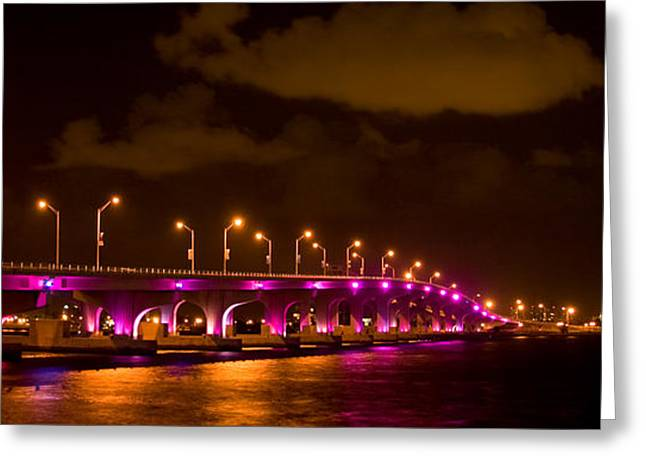 Illuminate Greeting Cards - Bridge lit up at night Greeting Card by Celso Diniz