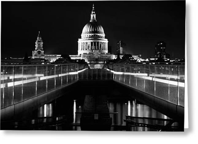 Bridge Lit Up At Night, London Greeting Card by Panoramic Images