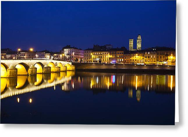 Burgundy Greeting Cards - Bridge Lit Up At Night, Pont St-laurent Greeting Card by Panoramic Images