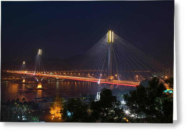 Island Stays Greeting Cards - Bridge Lit Up At Night, Ting Kau Greeting Card by Panoramic Images