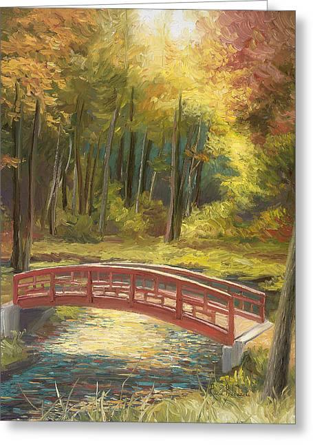 Outdoors Paintings Greeting Cards - Bridge Greeting Card by Lucie Bilodeau