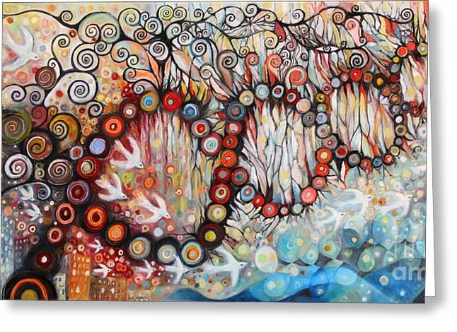 Swirls Of Energy Greeting Cards - Bridge  Greeting Card by Manami Lingerfelt