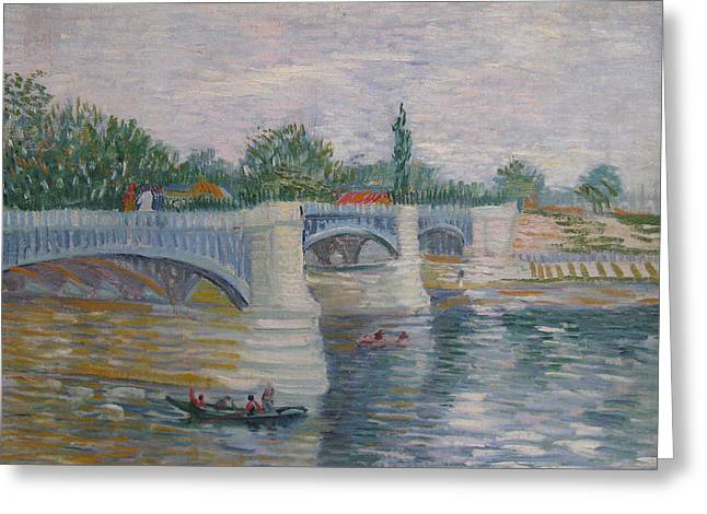 Courbevoie Greeting Cards - Bridge of Courbevoie 1887 Greeting Card by Vincent Willem Van Gogh