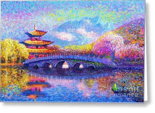 Contemporary Lovers Greeting Cards - Bridge of Dreams Greeting Card by Jane Small