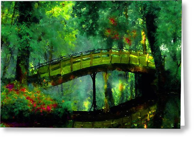 Mystical Landscape Greeting Cards - Bridge Of Dreams Greeting Card by Georgiana Romanovna