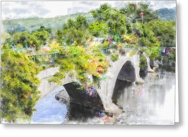 Bridge Of Flowers Greeting Cards - Shelburne Falls Bridge Of Flowers Greeting Card by Nancy RC Hebert