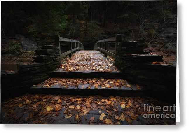 Buttermilk Falls Greeting Cards - Bridge of Gold Greeting Card by Michael Ver Sprill