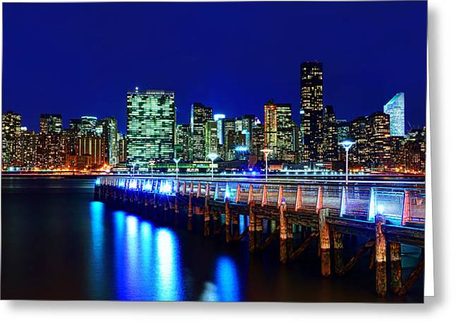 New York Manhattan Island Greeting Cards - Bridge of Lights Greeting Card by Midori Chan