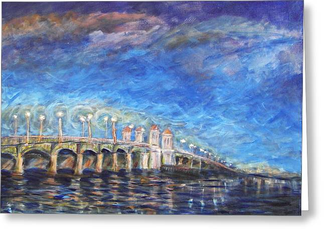 Florida Bridge Paintings Greeting Cards - Bridge of Lions Greeting Card by Mike McCaughin