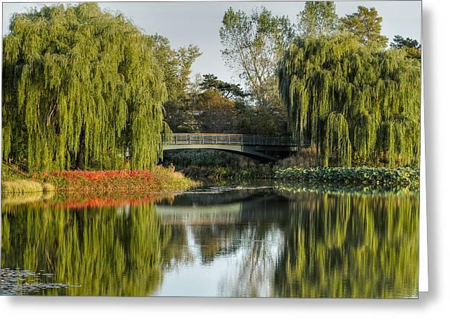 Bridge Of Reflection Greeting Card by Leo Thomas Garcia