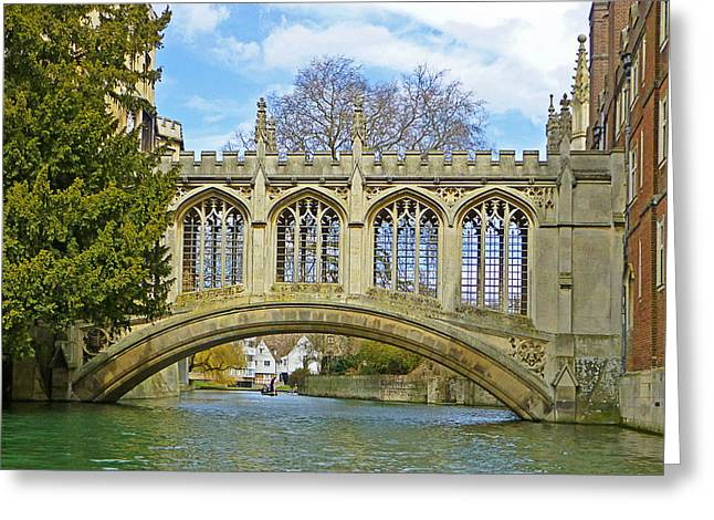 Recently Sold -  - Famous Bridge Greeting Cards - Bridge of Sighs Cambridge Greeting Card by Gill Billington