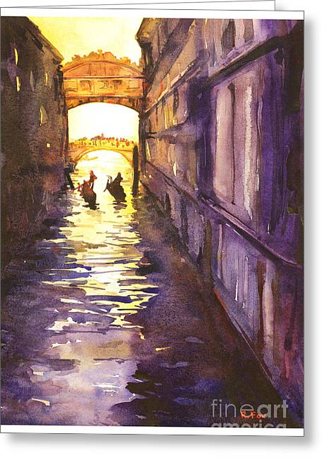 American Watercolor Society Greeting Cards - Bridge of Sighs Greeting Card by Ryan Fox