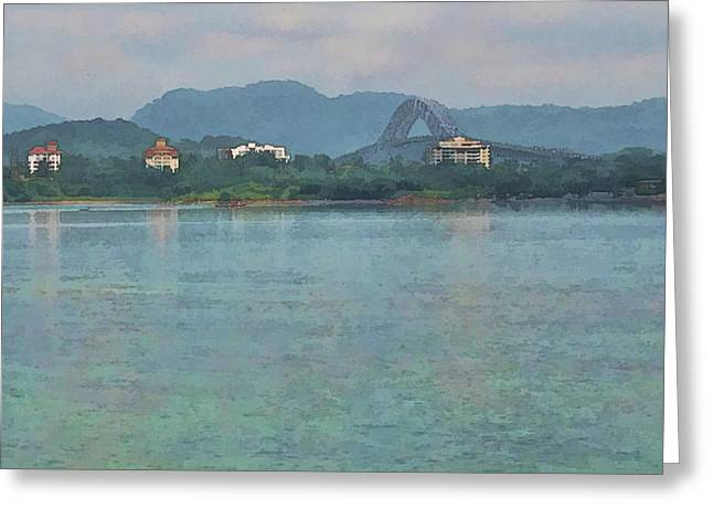 Bridge Of The Americas From Casco Viejo - Panama Greeting Card by Julia Springer