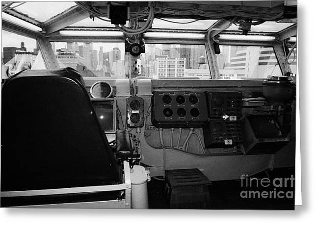 Manhatan Greeting Cards - Bridge of the USS Intrepid looking out at Manhattan at the Intrepid Sea Air Space Museum Greeting Card by Joe Fox