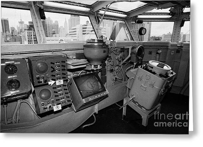 Manhatan Greeting Cards - Bridge of the USS Intrepid looking out at Manhattan new york city Greeting Card by Joe Fox