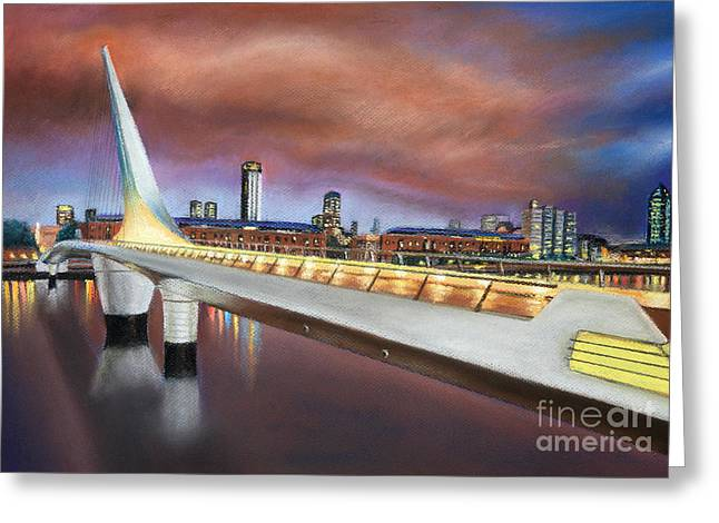 Dock Pastels Greeting Cards - Bridge of the Woman 01  Greeting Card by Bernardo Galmarini