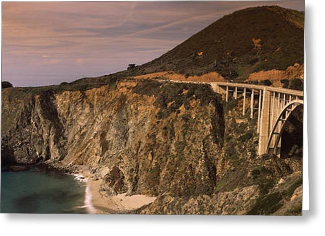 Famous Bridge Greeting Cards - Bridge On A Hill, Bixby Bridge, Big Greeting Card by Panoramic Images
