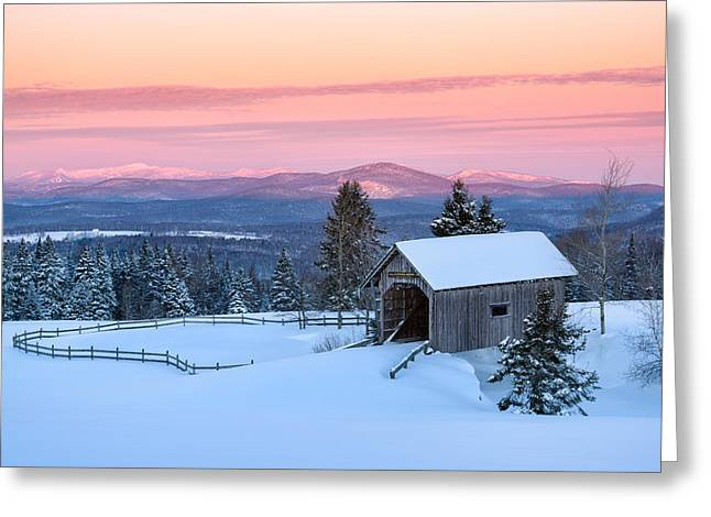 Covered Bridge Greeting Cards - Bridge on a Hill Greeting Card by Michael Blanchette