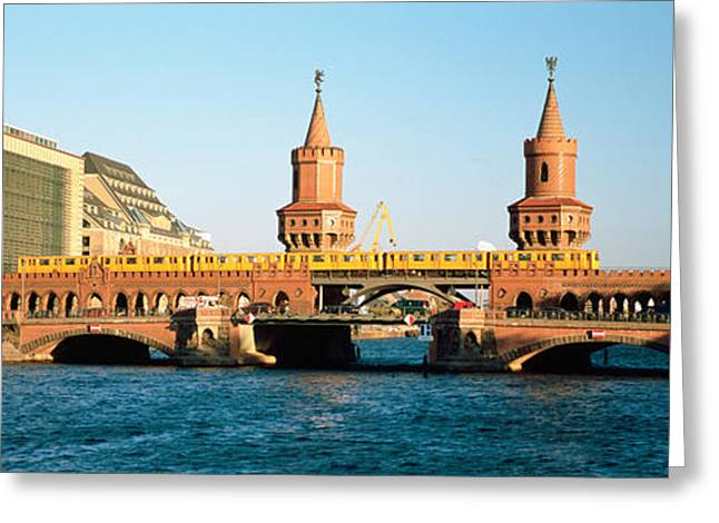 Public Transportation Greeting Cards - Bridge On A River, Oberbaum Brucke Greeting Card by Panoramic Images