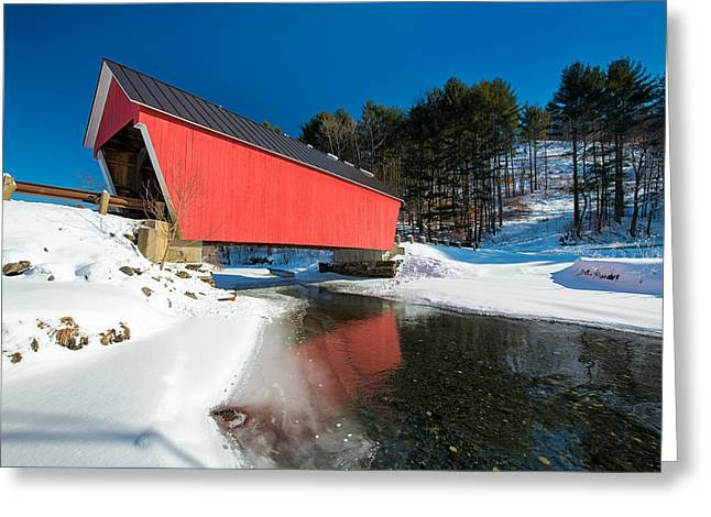 Covered Bridge Greeting Cards - Bridge on Ice Greeting Card by Michael Blanchette
