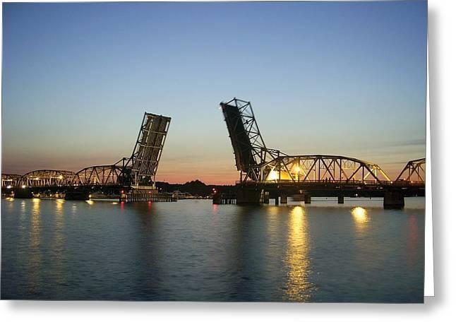 Marine Green Greeting Cards - Bridge Open Greeting Card by Jeremy Evensen