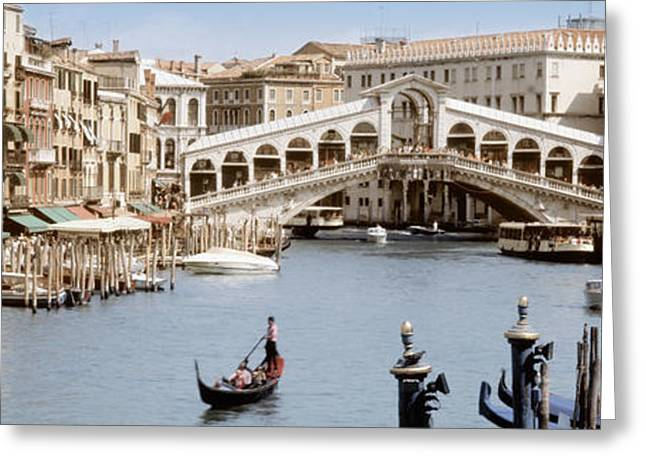 Wooden Building Greeting Cards - Bridge Over A Canal, Rialto Bridge Greeting Card by Panoramic Images