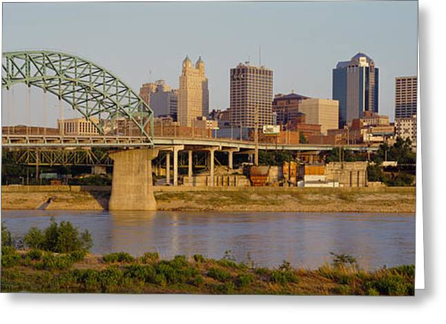 Kansas City Missouri Greeting Cards - Bridge Over A River, Kansas City Greeting Card by Panoramic Images