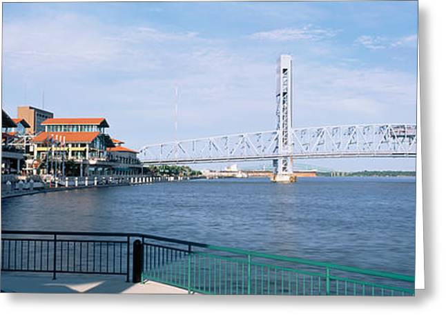 Main Street Greeting Cards - Bridge Over A River, Main Street, St Greeting Card by Panoramic Images