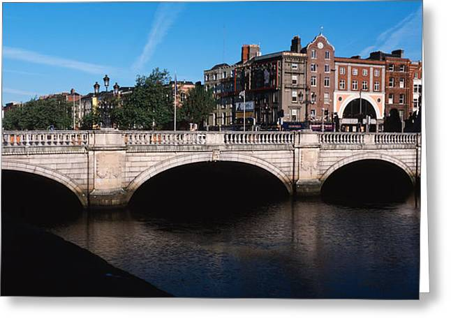 Liffey Greeting Cards - Bridge Over A River, Oconnell Bridge Greeting Card by Panoramic Images