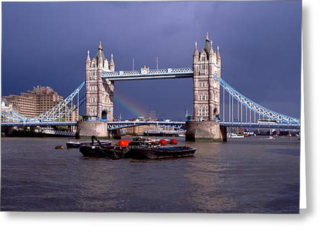 Overcast Day Greeting Cards - Bridge Over A River, Tower Bridge Greeting Card by Panoramic Images