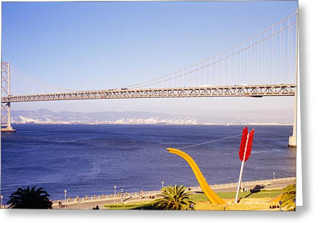 San Francisco Bay Greeting Cards - Bridge Over An Inlet, Bay Bridge, San Greeting Card by Panoramic Images