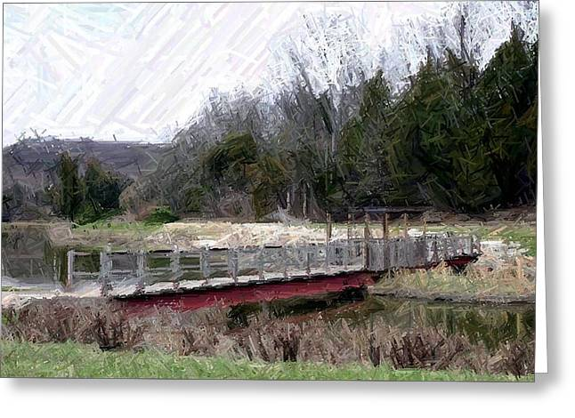 Bridge Tapestries - Textiles Greeting Cards - Bridge Over Cedar Pond-Bernheim Forest Greeting Card by Thia Stover