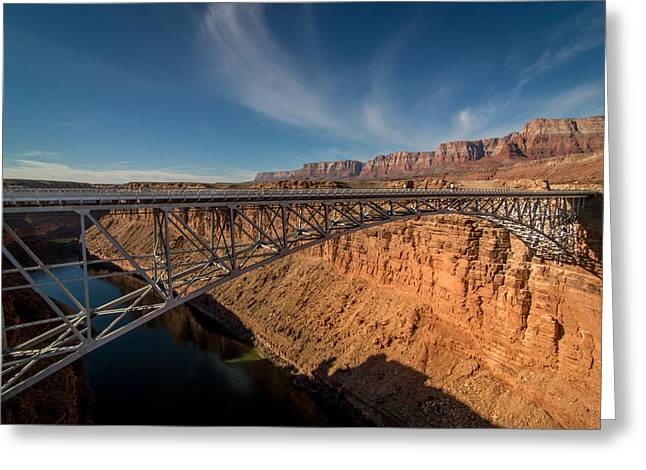 Canyon Greeting Cards - Bridge over Colorado River Greeting Card by Michael J Bauer
