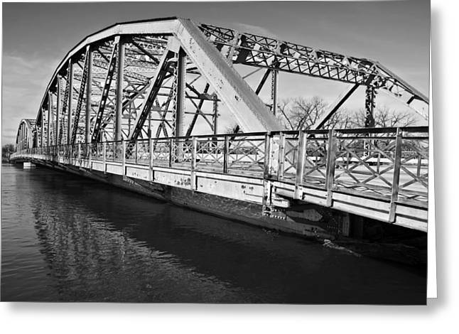 River Flooding Photographs Greeting Cards - Bridge over Flooding River Greeting Card by Donald  Erickson