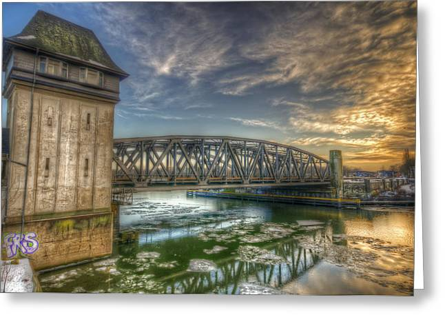 Big Chill Greeting Cards - Bridge over icey waters Greeting Card by Nathan Wright
