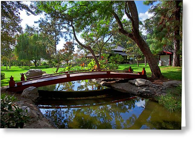 Bamboo House Greeting Cards - Bridge over Japanese Gardens Tea House Greeting Card by Jerry Cowart