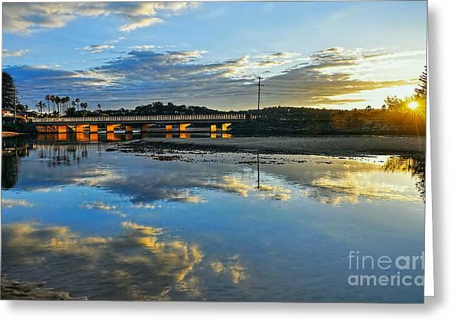 Water Reflecting At Sunset Greeting Cards - Bridge over Lake at Sunset Narrabeen Lakes Sydney Greeting Card by Kaye Menner