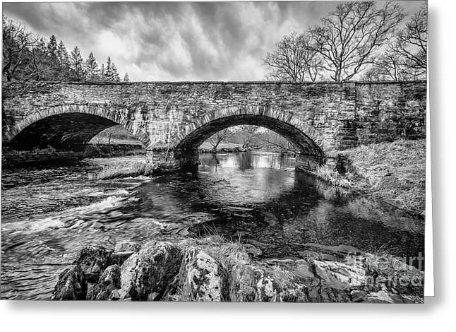 Black And White Hdr Greeting Cards - Bridge over Llugwy Greeting Card by Adrian Evans